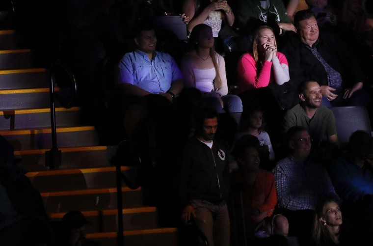 Members of the audience react during the final show of the Ringling Bros. and Barnum & Bailey Circus, Sunday, May 21, 2017, in Uniondale, N.Y. (AP Photo/Julie Jacobson)