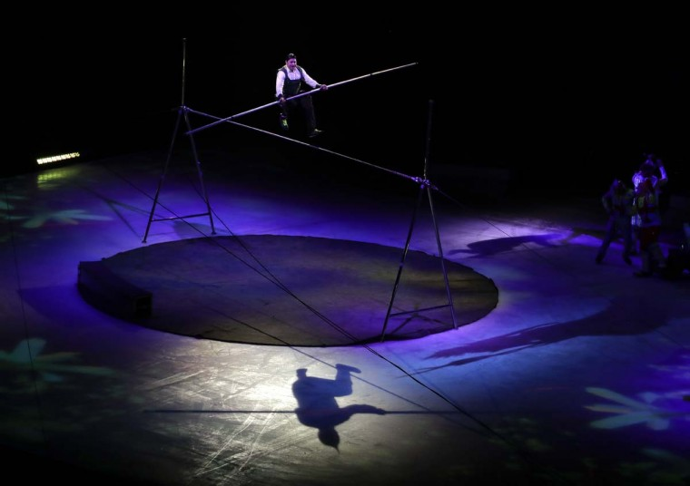 Davis Vassallo performs during the final show of the Ringling Bros. and Barnum & Bailey Circus, Sunday, May 21, 2017, in Uniondale, N.Y. (AP Photo/Julie Jacobson)