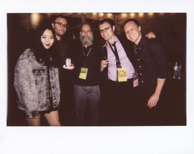 "Kristen Yoonsoo Kim, film critic; Zach Clark, director of MdFF 2016's ""Little Sister""; Richard Brody, film critic for The New Yorker; Eric Allen Hatch, MdFF director of programming, and Matthew Salton, director of MdFF 2017 Opening Night short ""Richard Twice"" at the Maryland Film Festival Opening Night Gala."