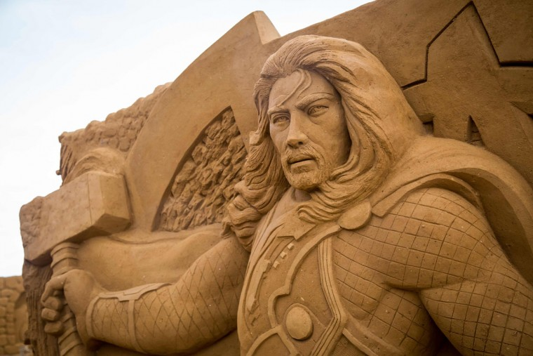 Parts of a sand sculpture representing Thor during an exhibition Disney Sand Magic in Ostend. On its 20th edition, the festival is organized in partnership with Disney for the 25th anniversary of Disneyland Paris and presents more than 150 sculptures to the public. (AFP Photo/ Aurore Belot)