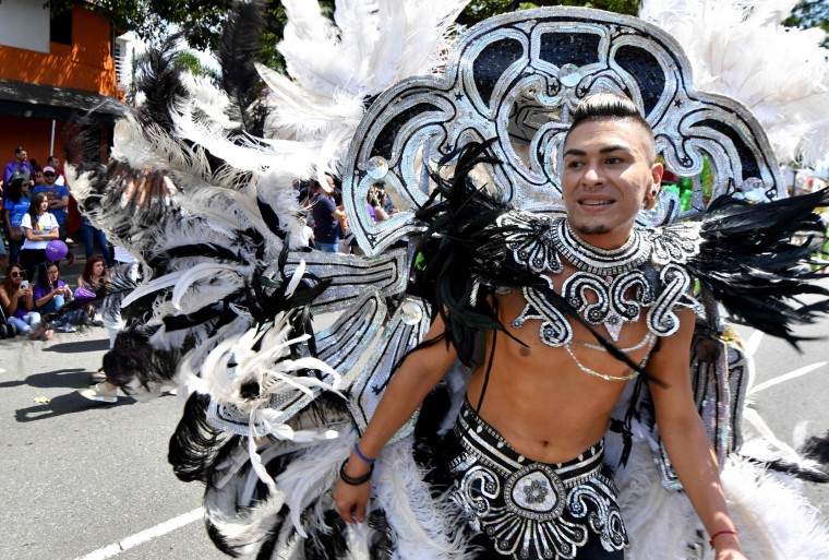 A reveller takes part in the Gay Pride Parade in San Jose, on June 25, 2017. (Ezequiel Becerra/AFP/Getty Images)