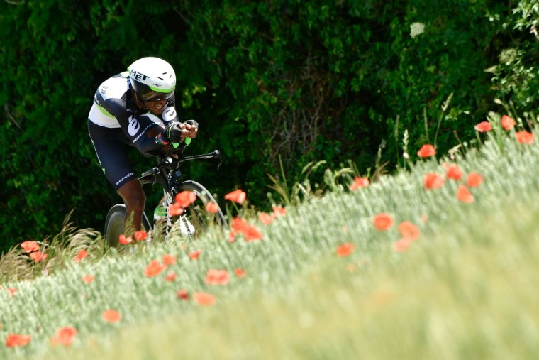 Eritrea's Natnael Berhane rides during a 23,5 km individual time-trial, the fourth stage of the 69th edition of the Criterium du Dauphine cycling race on June 7, 2017 between La Tour-du-Pin and Bourgoin-Jallieu. (Philippe Lopze/AFP/Getty Images)