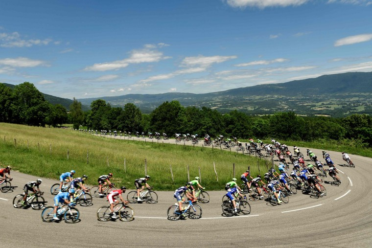 The pack rides during the 147,5 km sixth stage of the 69th edition of the Criterium du Dauphine cycling race on June 9, 2017 between Villars-les-Dombes and La Motte-Servolex. (Philippe Lopze/AFP/Getty Images)