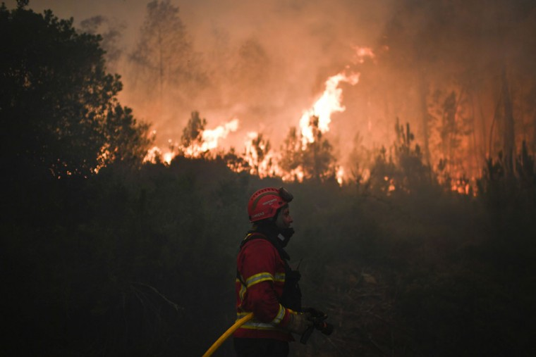A firefighter combats a wildfire in Capelo, Gois, on June 20, 2017.The huge forest fire that erupted on June 17, 2017 in central Portugal killed at least 64 people and injured 135 more, with many trapped in their cars by the flames. / (AFP Photo/Patricia Melo moreirapatricia de melo moreira)