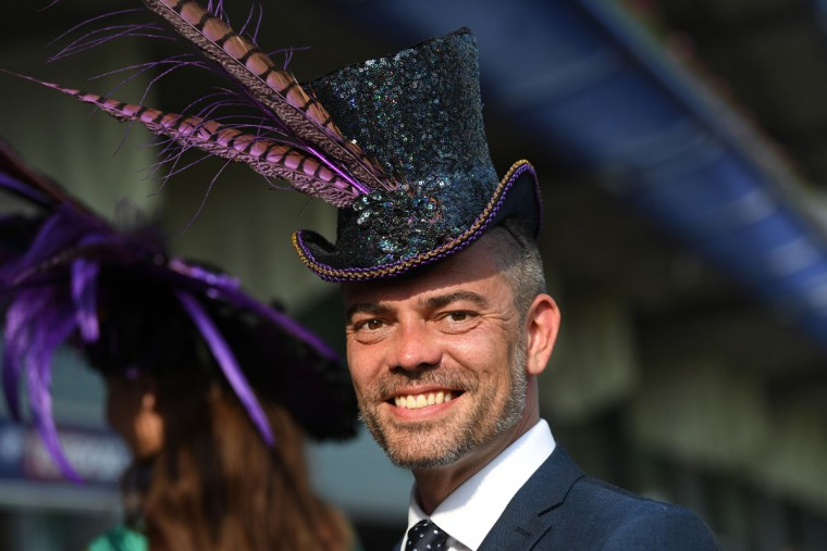 Extravagant hats are the order of the day on the opening day of Royal Ascot at Ascot Racecourse on June 20, 2017 in Ascot, England. (Photo by Mike Hewitt/Getty Images)