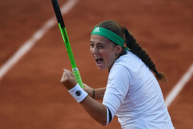 Latvia's Jelena Ostapenko reacts after winning her tennis match against Denmark's Caroline Wozniacki at the Roland Garros 2017 French Open on June 6, 2017 in Paris. (Gabriel Bouys/AFP/Getty Images)