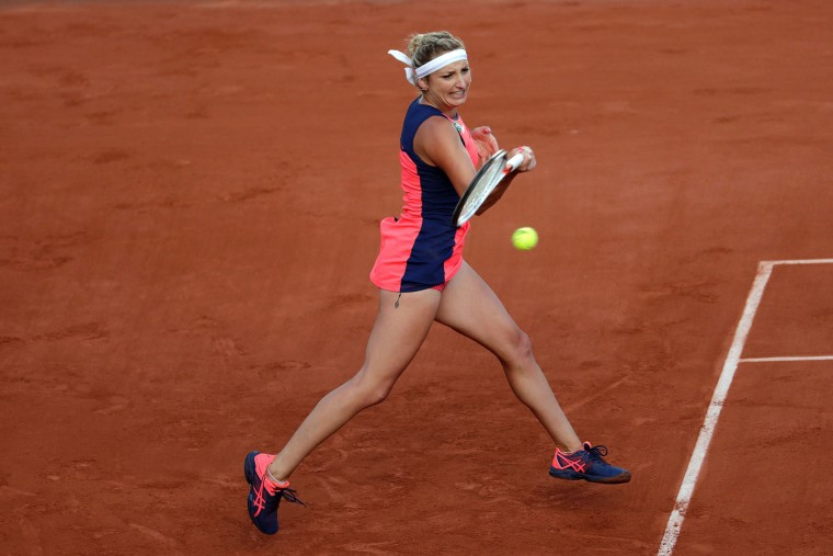 Switzerland's Timea Bacsinszky returns the ball to France's Kristina Mladenovic during their tennis match at the Roland Garros 2017 French Open on June 6, 2017 in Paris. (Thomas Samson/AFP/Getty Images)