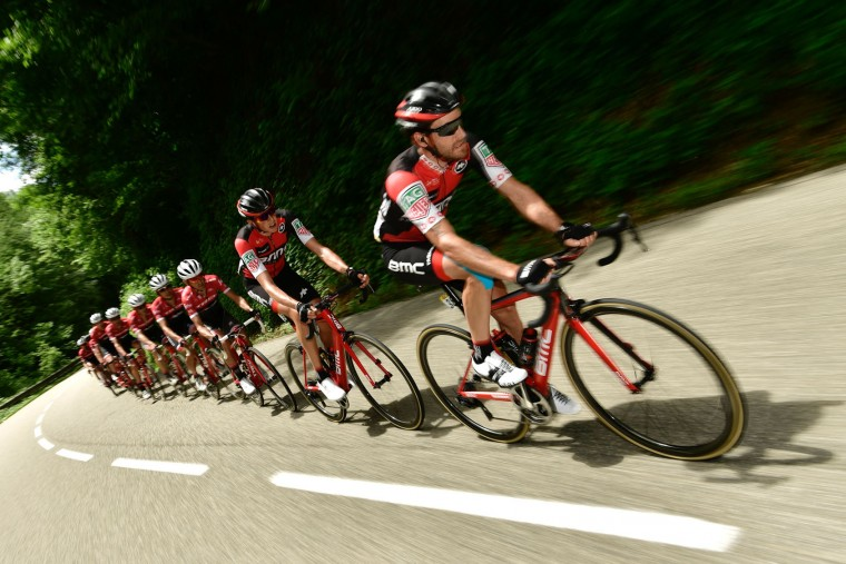 Switzerland's Danilo Wyss (R) rides in the pack during the 147,5 km sixth stage of the 69th edition of the Criterium du Dauphine cycling race on June 9, 2017 between Villars-les-Dombes and La Motte-Servolex. (Philippe Lopze/AFP/Getty Images)