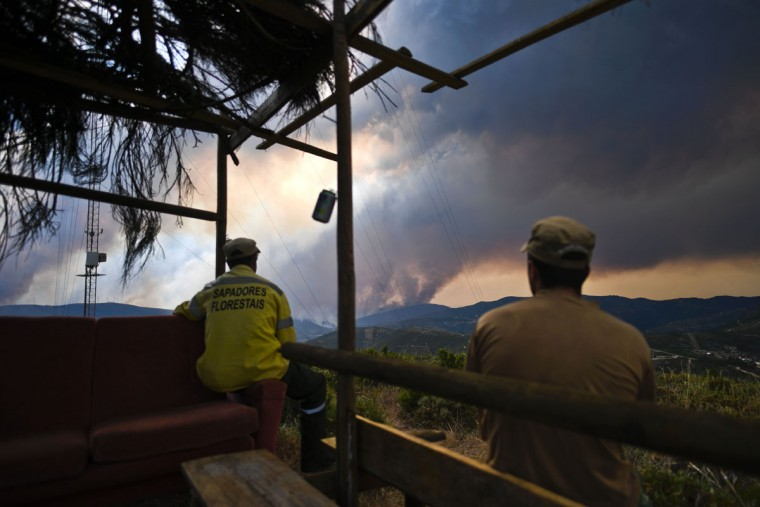Forest rangers watch the columns of smoke rising from a wildfire in Gois, Coimbra district, on June 20, 2017.The huge forest fire that erupted on June 17, 2017 in central Portugal killed at least 64 people and injured 135 more, with many trapped in their cars by the flames. / (AFP Photo/Patricia Melo moreirapatricia de melo moreira)