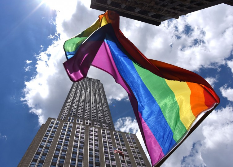 Parade-goers make their way down 5th Avenue during the NYC Pride March on June 25, 2017. The NYC Pride March celebrates its 48th annual parade . (Timothy A. Clary/AFP/Getty Images)