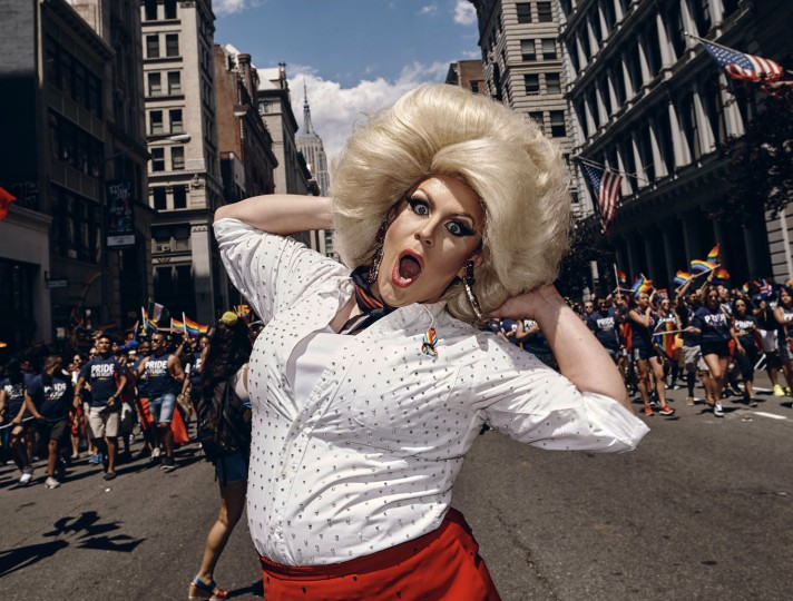 A participant performs during the New York City Pride Parade on Sunday, June 25, 2017, in New York. (AP Photo/Andres Kudacki)
