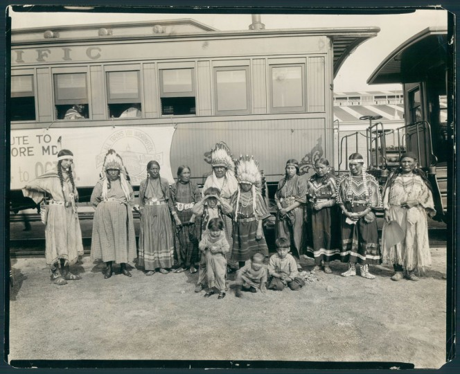 30 members of the Blackfoot Indian tribe traveled to Baltimore from Glacier National Park to participate in the Fair of the Iron Horse in 1927. (Baltimore Sun archives)