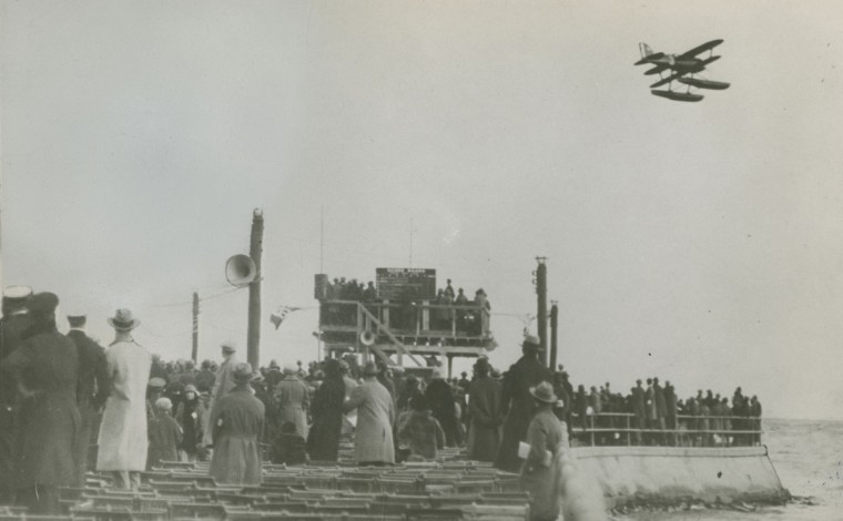 October 25, 1925-THE PIER AT BAY SHORE PARK--Showing Lt. James Doolittle's Curtiss R3C-2 plane carrying race number 3 winning the Schneider Cup Race. Photo by Baltimore Sun Staff Photographer.