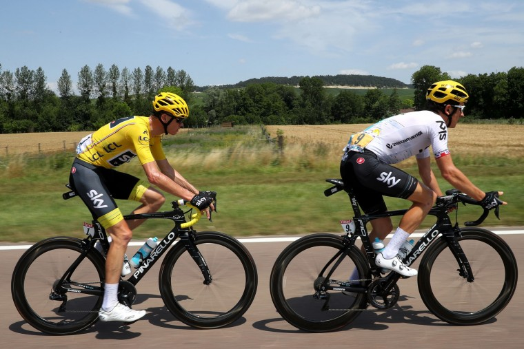 Geraint Thomas of Great Britain riding for Team Sky and Christopher Froome of Great Britain riding for Team Sky in the leader's jersey ride in the peloton during stage seven of the 2017 Le Tour de France, a 213.5km stage from Troyes to Nuits-Saint-Georges on July 7, 2017 in Nuits-Saint-Georges, France. (Photo by Chris Graythen/Getty Images)