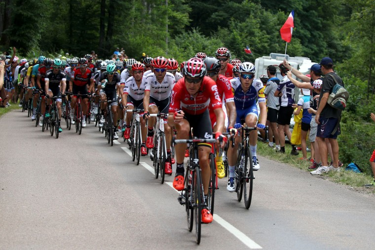 Team Lotto Soudal leads the peloton during stage seven of the 2017 Le Tour de France, a 213.5km stage from Troyes to Nuits-Saint-Georges on July 7, 2017 in Nuits-Saint-Georges, France. (Photo by Chris Graythen/Getty Images)