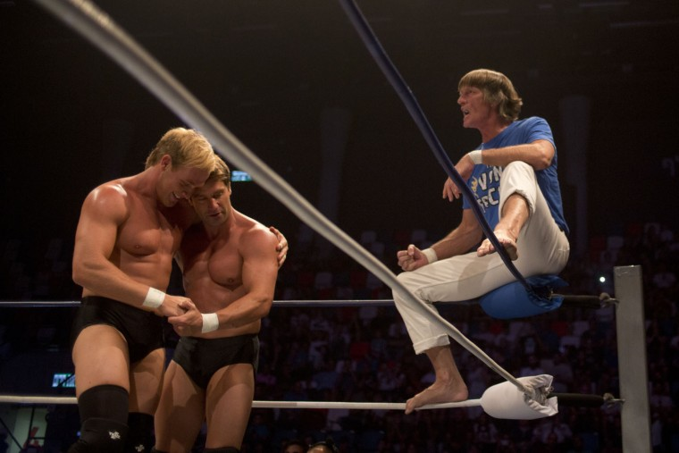 Wrestler Kevin Von Erich with his sons Ross and Marshall during The Rage Wrestling Mega Show in Tel Aviv, Israel, Sunday, July 9, 2017. The Israeli Wrestling League hosted a wrestling show in Tel Aviv with some of the WWE greatest of all time. (AP Photo/Ariel Schalit)