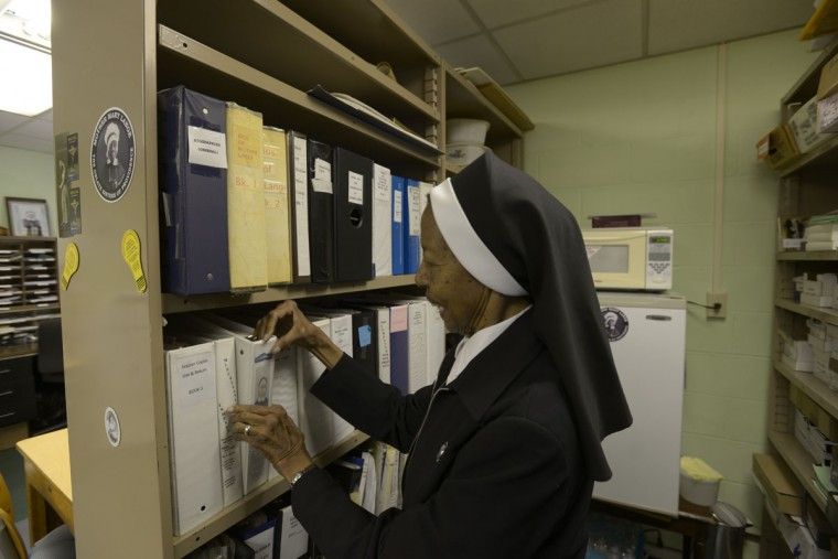 Sister Magdala Marie Gilbert, 86, directs the Mother Lange Guild, which is pursuing sainthood for the founder of the Oblate Sisters of Providence. They're the oldest order of black nuns in the modern world. (Christina Tkacik/Baltimore Sun)