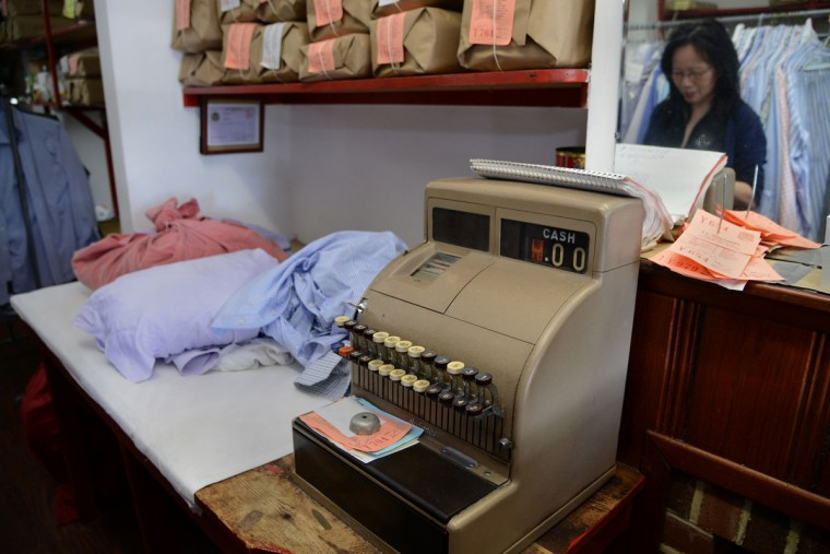 The cash register at T.C. Wing Laundry is the original one purchased by founder T.C. Wing.
