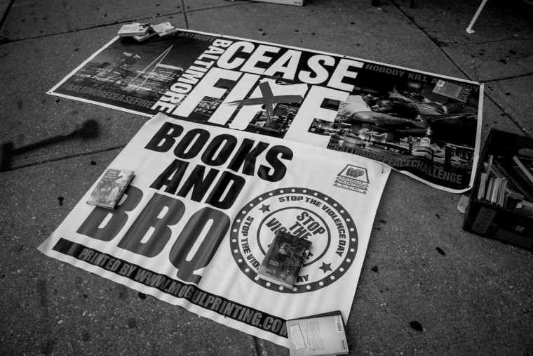 "Baltimore, MD -- 8/4/2017 -- Baltmore Ceasefire banners. Day 1 of the 72 hours Baltimore Ceasefire. ""Stop the Violence Rally"" located on Edmondson Avenue and Wildwood Parkway, where approximately 75 local Baltimore city residents came out to promo the Ceasefire message. (Photo and caption by Paul Lai)"