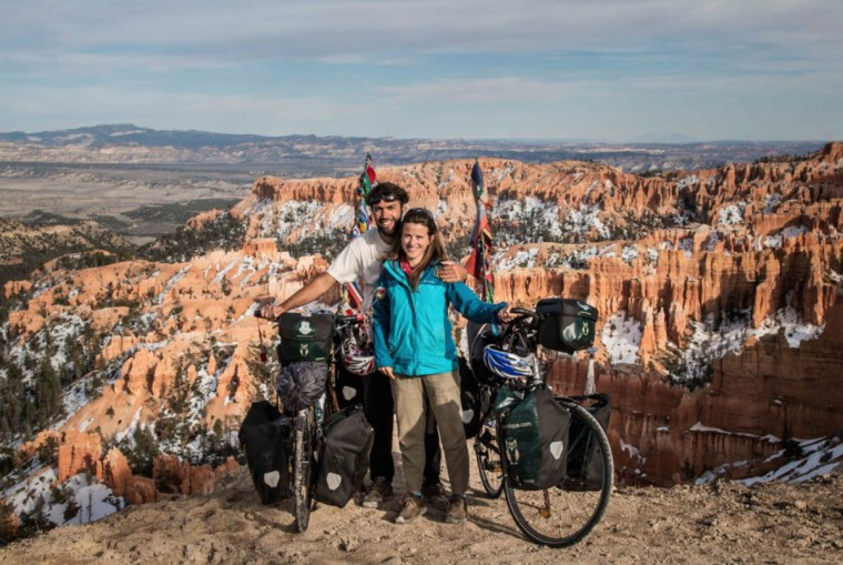 Andres Fluxa and Clemence Egnell in the US earlier this year. The couple arrived in California in 2017 and biked eastward toward Washington, D.C. (Photo courtesy of Andres Fluxa, all rights reserved)
