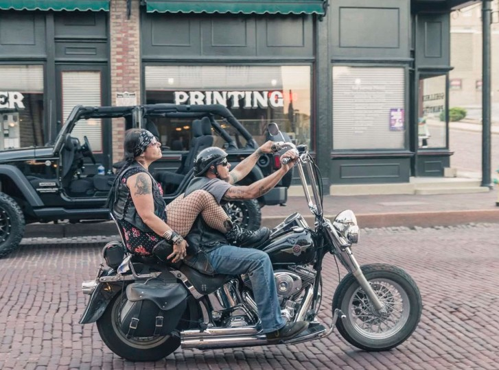 "Motorcyclists in St. George, Missouri. ""You have a lot of characters in the US,"" said Clemence. ""People can be who they are."" (Photo by Andres Fluxa, all rights reserved)"