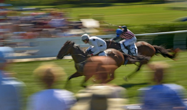 Aflutter, ridden by jockey Jack Doyle, beats jockey Bernard Dalton, who rides Albus (3), to victory in the National Steeplechase Association race, during the 2017 Legacy Chase at Shawan Downs. (Karl Merton Ferron / Baltimore Sun Staff)