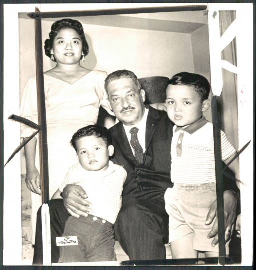 Photo of Thurgood Marshall with his family in photo dated September 25, 1961. (Baltimore Sun archives)