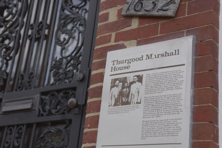 Thurgood Marshall's childhood home on Division Street in West Baltimore. The neighborhood was once one of the city's thriving African-American areas. Today, many houses are vacant, and crime is high. (Christina Tkacik/Baltimore Sun)