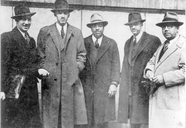 Thurgood Marshall stands second from left in undated photo. (Baltimore Sun archives)