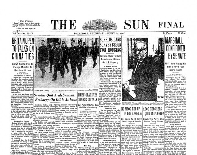 """The Baltimore Sun front page following Marshall's confirmation by the Senate. The subheadline noted that he was the """"high court's first negro justice."""" (Baltimore Sun archives)"""