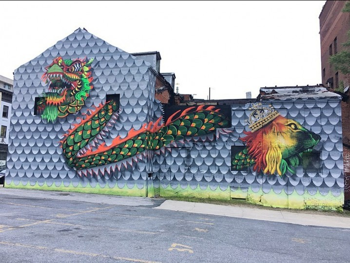 Artist Jeff Huntington paid tribute to both the Chinese and Ethiopian communities of Park Avenue with his mural of a Chinese dragon and the Lion of Judah. (Photo courtesy of Jeff Huntington)