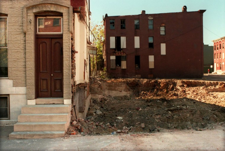 BALTIMORE, MD--Oct. 31, 1998-- Former homesites where Thurgood Marshall lived in Baltimore City. Pictured is : 1838 Druid Hill Ave. Photo by Larry C. Price/Sun Staff.