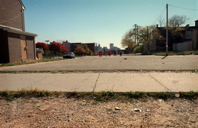 BALTIMORE, MD--Oct. 31, 1998-- Former homesites where Thurgood Marshall lived in Baltimore City. Pictured is : 543 McMechen St. (now a lot) Photo by Larry C. Price/Sun Staff.