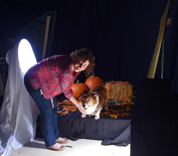 Studio set up for the pet Halloween costume shoot. (Karl Merton Ferron/Baltimore Sun)
