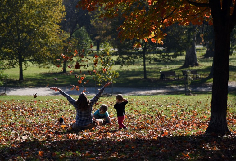 Jennifer Waskiewcz of Baltimore, left, plays with her children Quentin, center, who is almost 4, and Greta, right, who is one, at Patterson Park. (Barbara Haddock Taylor/Baltimore Sun)