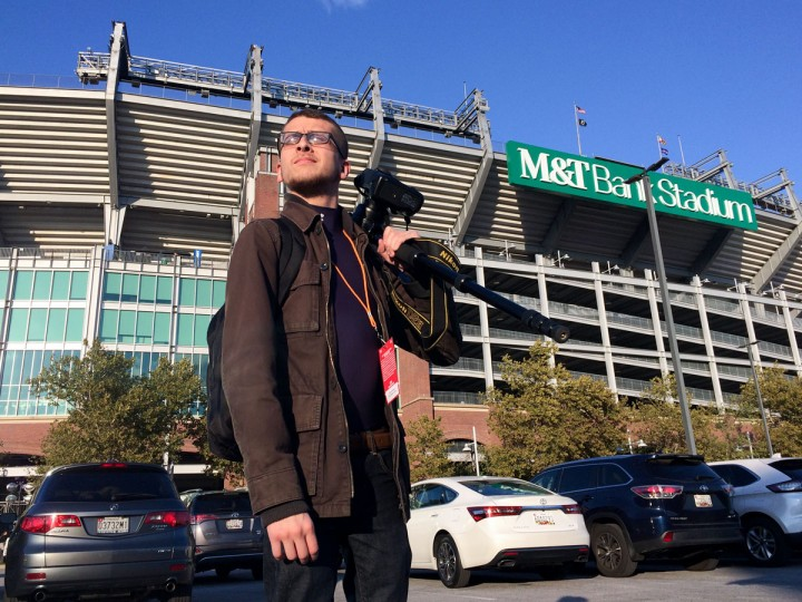 Standing outside of M&T Bank Stadium close to 5:30 p.m. after riding over with Lloyd and Ken. We grabbed our equipment from the trunk and walked over to the media gate. (Photo by Lloyd Fox)