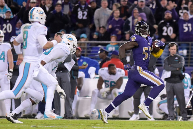C.J. Mosley intercepted a throw from Matt Moore and ran it back 63-yards for a touchdown. (Ulysses Munoz/Baltimore Sun)