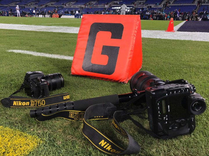 I brought two cameras to shoot the game: a Nikon D4S on a monopod with a 300mm lens for long range, and a Nikon D750 with a 24-120mm lens for when the action got a little closer. Not pictured is my iPhone 7 that I also took a few shots with. (Ulysses Munoz/Baltimore Sun)