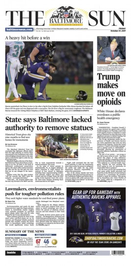After a 9-hour day of work Thursday, I got a nice surprise Friday morning when I checked the e-edition: my shot of Flacco struggling to stand after the hit by Alonso made the front page. A huge wave of relief passed over me, it was a nice feeling to know that I'd actually been able to help out the team instead of slowing down my coworkers with rookie mistakes. I definitely wouldn't have been able to do it without Ken and Lloyd's help. (Photo courtesy Baltimore Sun)