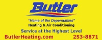Website for Butler Heating and Air Conditioning Company