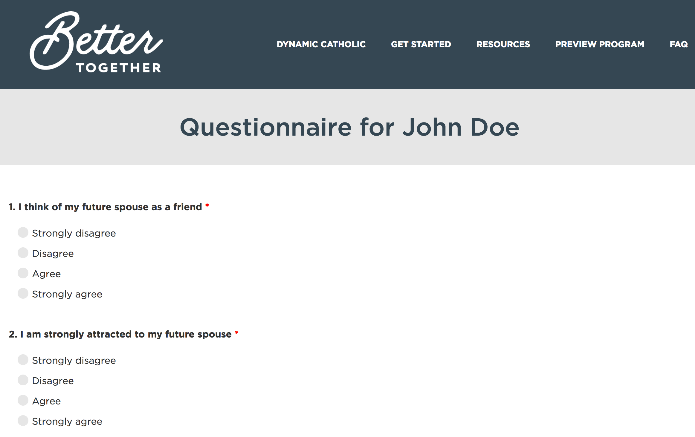 Sample Marriage Preparation Inventory Questionnaire Page by Dynamic Catholic