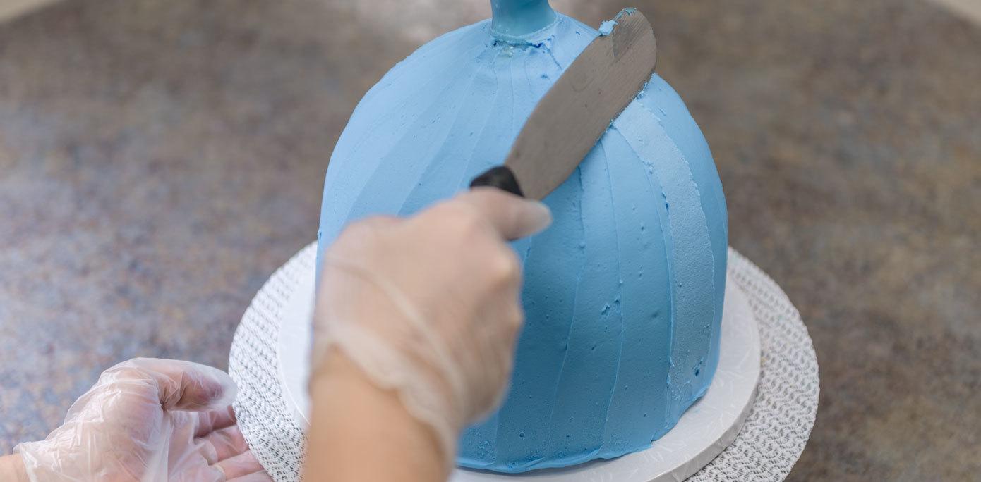 Cinderella Doll Cake create pleats