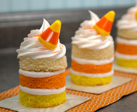 How-To Make Mini Candy Corn Naked Cakes