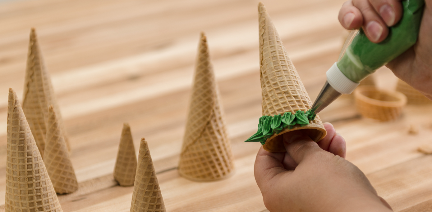 Frozen Tiered Cake Ice Cream Cone Trees