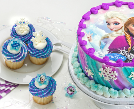 How-To Make a Frozen Sisters Cake Using an Edible Cake Decoration