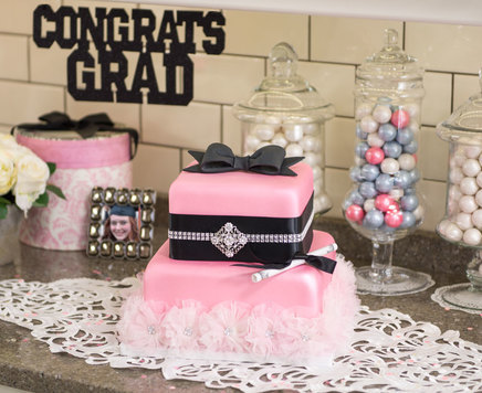 How-To Make a Glamorous 2-Tier Pink Grad Cake