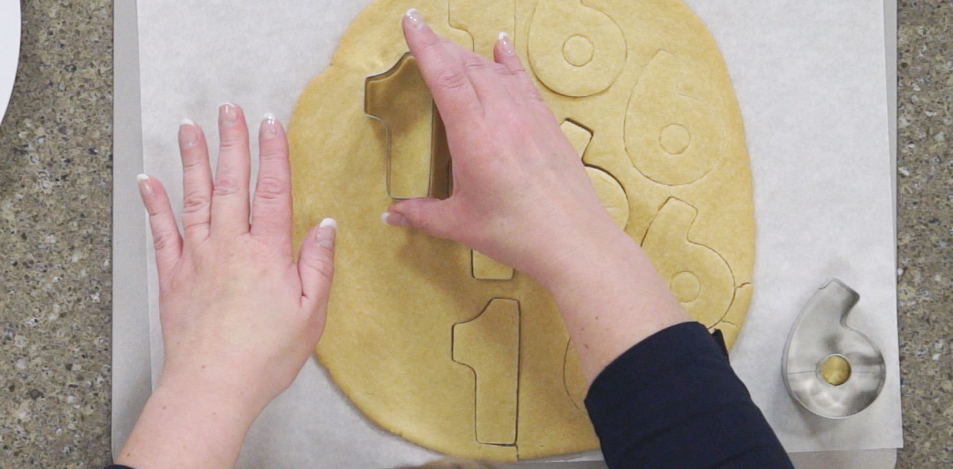 Cutting shapes out of cookies