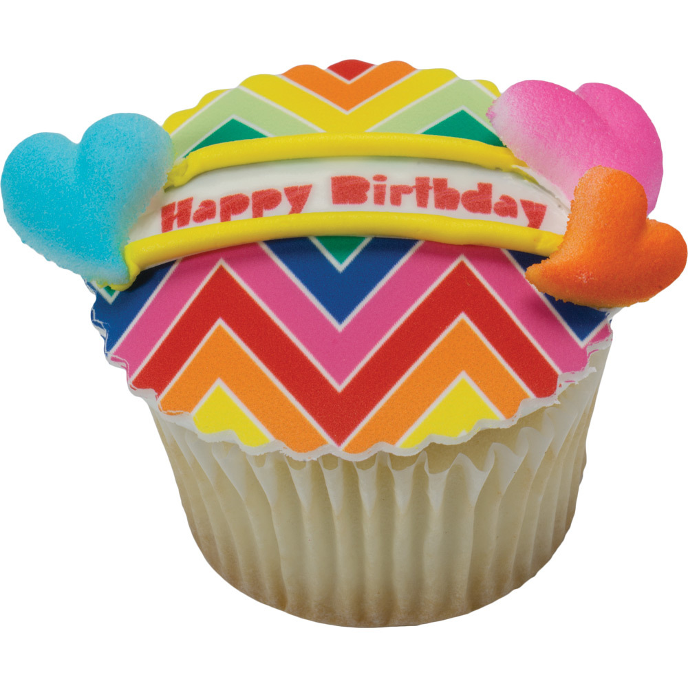 Lucks Print-Ons Rainbow Birthday Cupcake