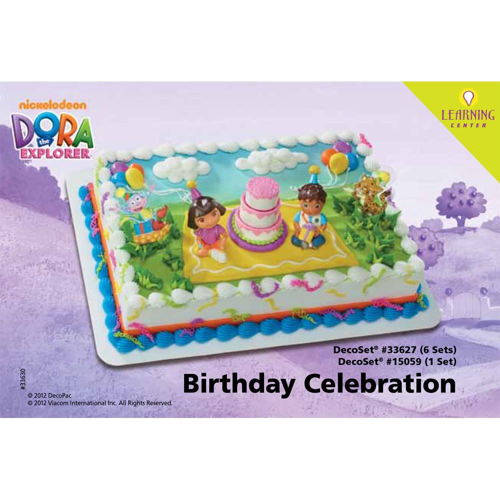 Decopac dora the explorer birthday celebration decoset for Decoration 4 cake