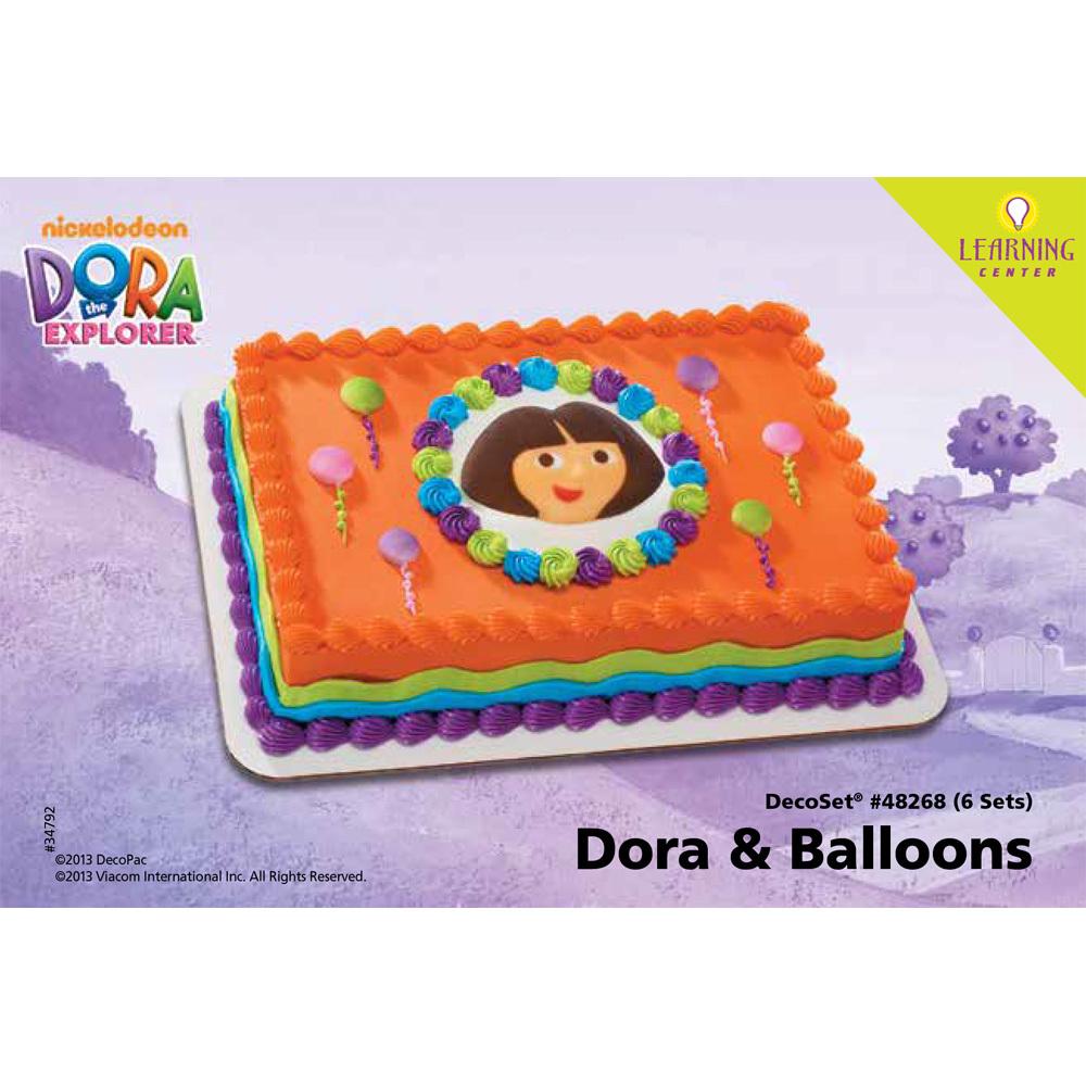 Dora the Explorer Dora and Balloons Edible Decor DecoSet® 1/4 Sheet Cake Decorating Instructions